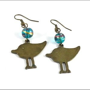Beautiful Vintage Blue Glass Beaded Bird Earrings